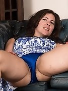 Dressed in blue, Sharlyn strips naked on chair